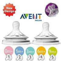 Philips Avent Natural Baby Feeding Bottle Teats 2PK (0m-6m+)