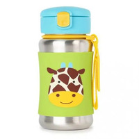 SKIP HOP ZOO Kids Stainless Steel Straw Bottle 350ml (Giraffe)
